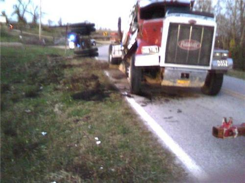 Rolled over semi-truck recovery