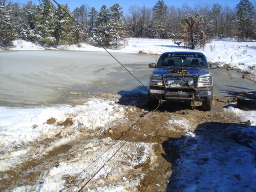 Recovering a truck from a frozen pond